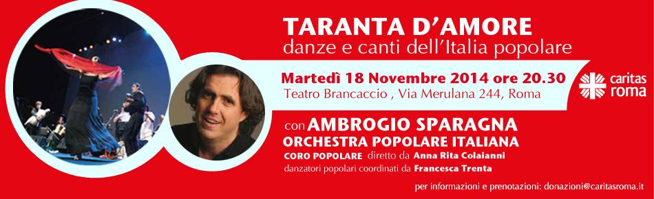 """""""Taranta d'amore"""", Ambrogio Sparagna per la Caritas"""
